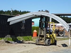 GH arches being unloaded